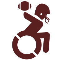 Maroon WheelchairQB Logo with transparent background